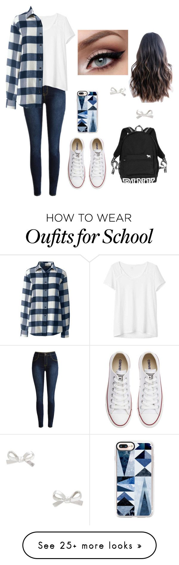 """School outfit"" by pinkj3w3l on Polyvore featuring Gap, Lands' End, Converse, Victoria's Secret, Kate Spade, Casetify and plus size clothing"