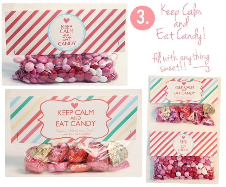 "DIY Valentine Ideas-Cute Valentine Treat Bag Tags!.... ""Keep Calm and Eat Candy!"": Valentine Treats, Craft, Gift, Treat Bags, Bag Toppers, Valentines Day Treats, Diy, Valentine S"