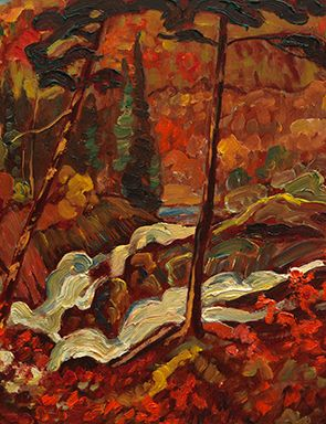 J.E.H. MacDonald- Sketch for wild river from a private collection