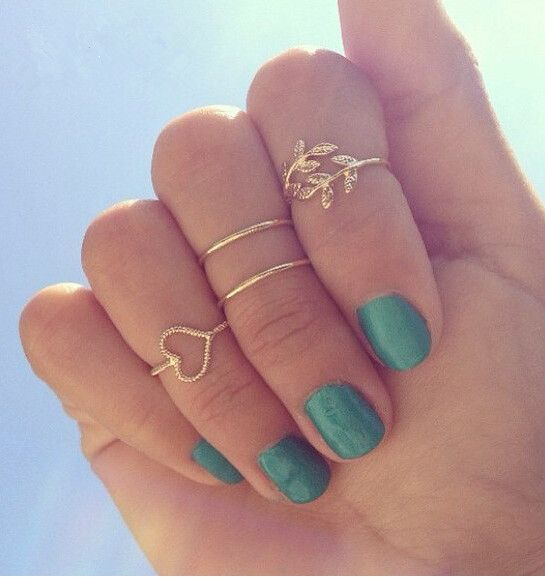 (4 Pieces/lot) 2015 Fashion Women Jewelry Silver Plated Stacking Midi Rings Charm Love Heart Leaf Midi Set Mid Finger Rings