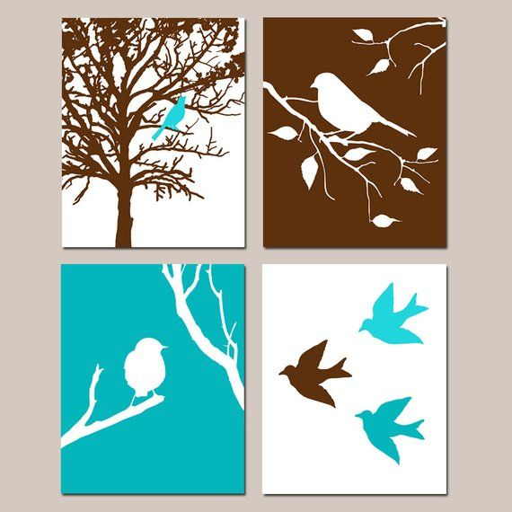 Modern Bird Quad Set Of Four 8x10 Prints Kids Wall Art For Nursery Choose Your Colors Shown Bird Wall Art Art Wall Kids Bird Art Print