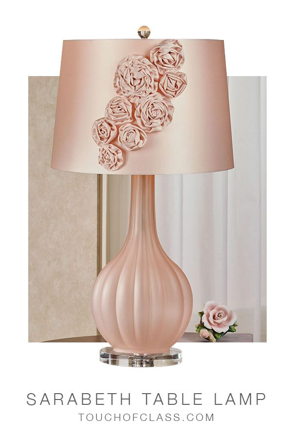 Sarabeth Blush Frosted Glass Table Lamp With Fabric Flower Blossom Shade In 2021 Glass Table Lamp Lamp Glass Table