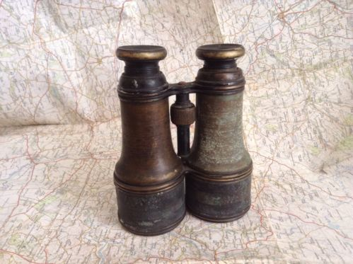 Antique French Military Field Glasses c.1910, WW1 Era Copper / Brass Binoculars