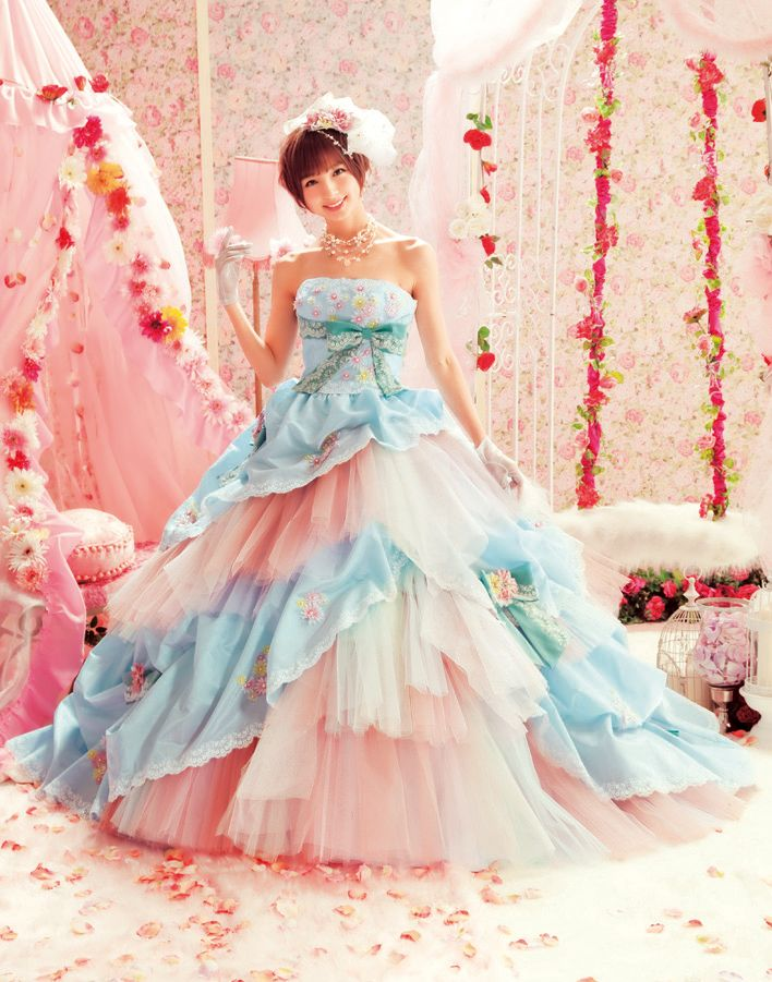 Blue and Pink Wedding Dress with Colorful Tulle : Blue and Pink Wedding ...    capturebrides.com