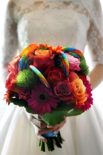 retro wedding, retro bouquet, wedding flowers, wedding bouquet, silk flowers photo source fiftieswedding.com shop wedding flowers and wedding decorations www.afloral.com