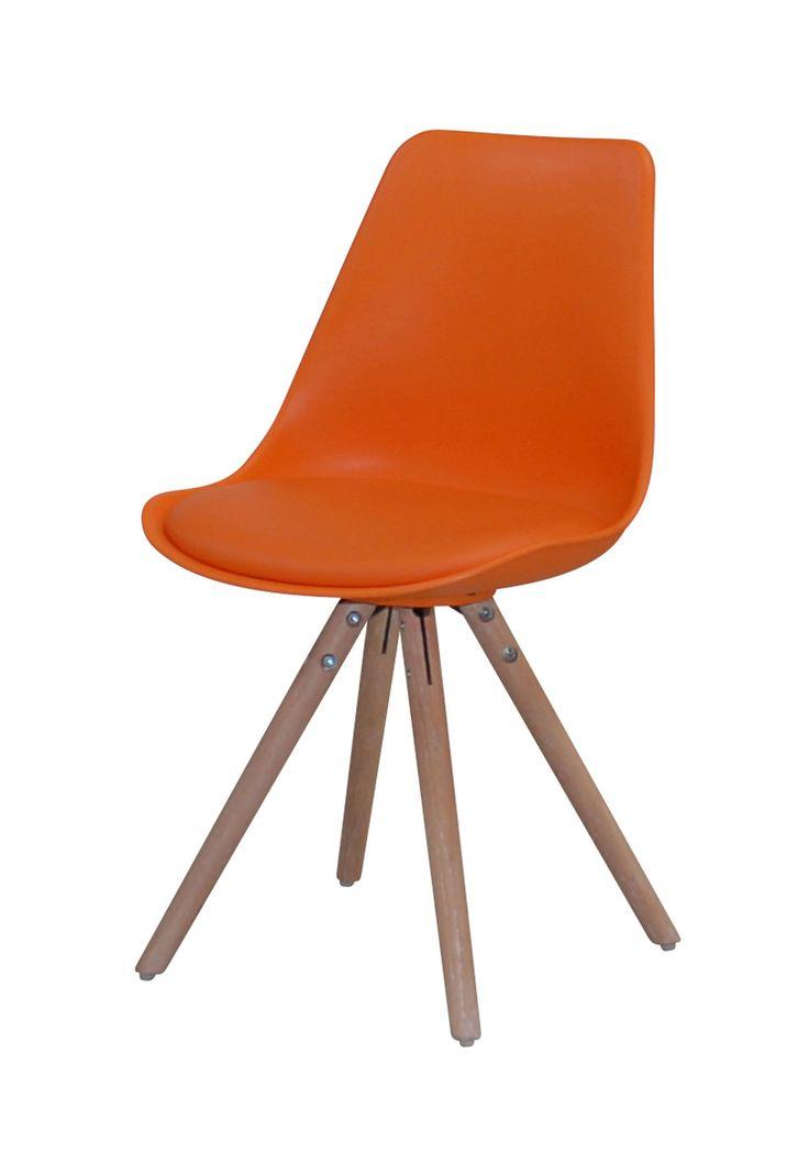 Woody Spisebordsstol - Flot skalstol med fantastisk siddekomfort og flot moderne design. Skallen er betrukket med orange PU og har runde ben udført i hvidolieret egetræ, der giver den et rustikt udtryk. Anvend skalstolen som spisebordsstol og giv dit køkken et moderne look. Egner sig også som god skrivebordsstol eller som ekstra stol i værelset.