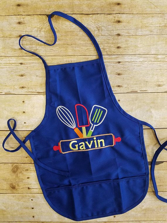 Kids personalized apron, child apron, girl birthday gift ...