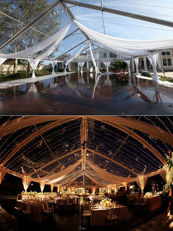 Outdoor tent wedding reception before and after lighting. Lighting by @Kaleidoscope Event Lighting. #wedding #tentwedding #beforeandafter