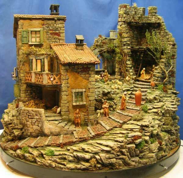 Batiments pour crèche (ruine, maison à étage avec terrasse, escaliers)