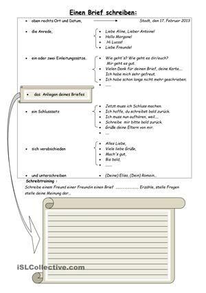 Wie schreibt man einen Brief: Ausdruckshilfen - DaF Arbeitsblätter