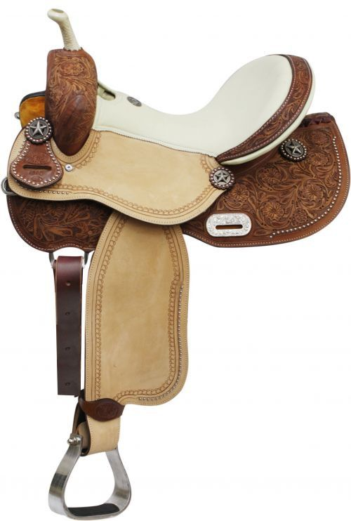 """14"""" 15"""" 16"""" Double T Barrel Style Saddle with Texas Star Conchos."""