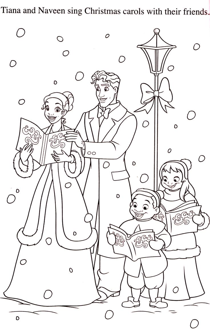 Disney princess birthday coloring pages - Tianna And Naveen Christmas Caroling Disney Frog Princess Coloring Pages