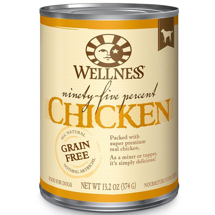 Wellness 95% Chicken Natural Wet Grain Free Canned Dog Food, 13.2-Ounce Can >> Save this wonderfull item : Dog food types