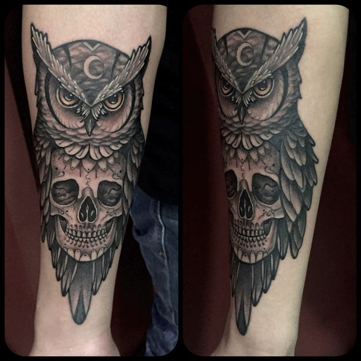 Owl Skull tattoo by Juan David Castro R