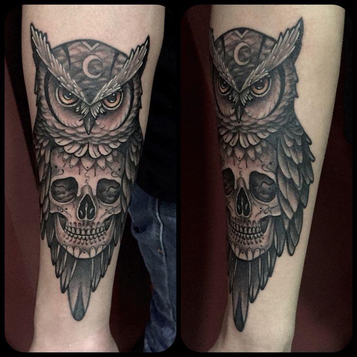 Owl Skull tattoo by Juan David Castro R