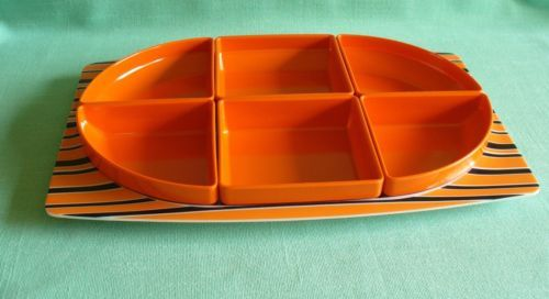 RETRO BESSEMER EUROPA PLATTER SEGMENTED SAVOURY SERVING SET 6 DISHES & PLATE