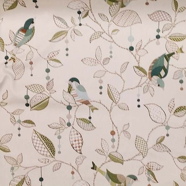 this is a green brown and natural floral bird cotton drapery fabric by p kaufmann fabrics suitable for any du0026 in the home or office