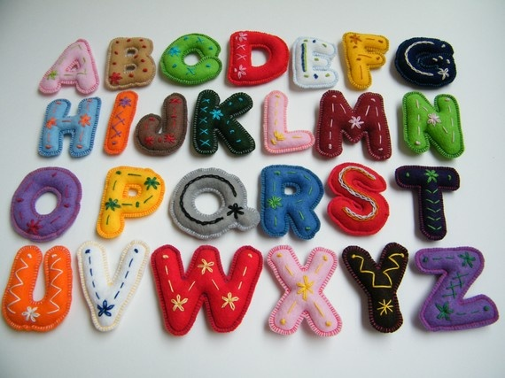 Embroidered felt letters (this was pinned from an Etsy shop that no longer exists; I'm just saving the picture as a reminder to make something like this)