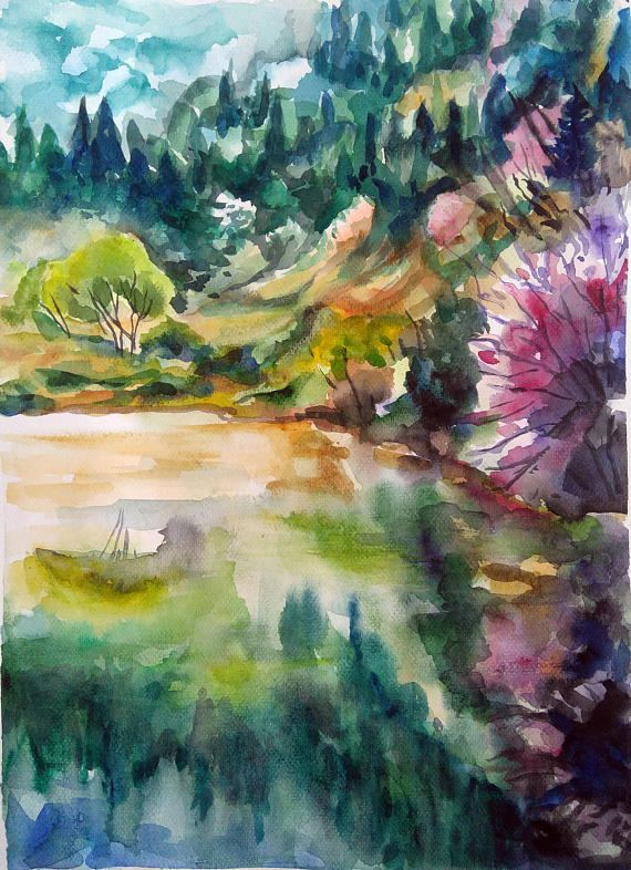 Original watercolor painting landscape Mountain lake wall