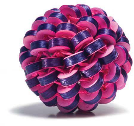 Axel Russmeyer  24ar PURPLE MEETS PINK  polyester thread on cardboard bubbins, nylon thread, ribbon, aluminum