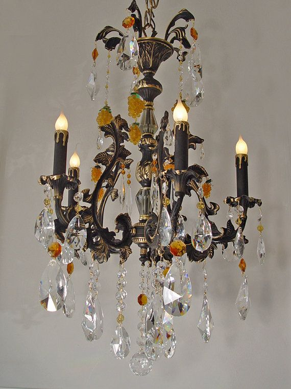 82 best gorgeous vintage lighting images on pinterest vintage chandelier lighting 21 x 32 brass 5 light crystal chandelier czech amber grapes black gold accents swarovski custom lighting ooak aloadofball Gallery