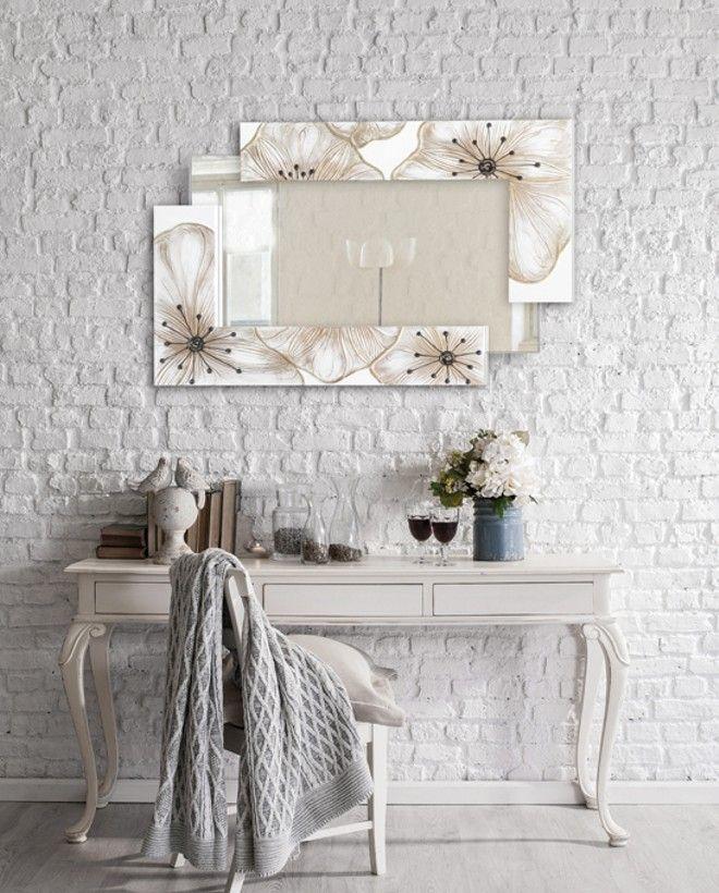 P4018 - Petunia Scomposta Piccola ''PINTDECOR'' cm120x80 (specchio 100x44 cm)  Struttura a doppia-elle decorata a mano con dettagli in resina su materico in rilievo, specchio a sbalzo, affissione orizzontale/verticale, finitura lucida  #specchio #p4018 #petunia #pintdecor #fiore #specchiera