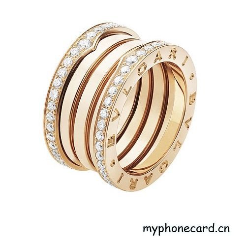 bvlgari ring in 18 kt pink gold with pav diamonds