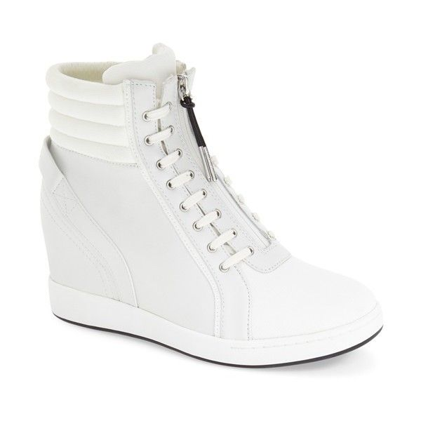 "L.A.M.B. 'Georgi' Hidden Wedge Sneaker, 3"" heel ($300) ❤ liked on Polyvore featuring shoes, sneakers, white leather, leather sneakers, white sneakers, wedge sneakers, hi top wedge sneakers and white leather high tops"