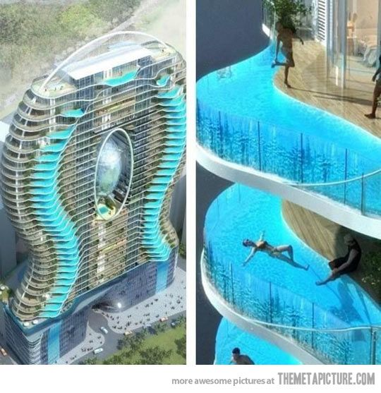Zwembalkons in Mumbai, each room has its own pool…