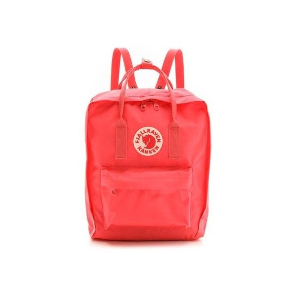 Fjallraven Kanken Backpack (290 ILS) ❤ liked on Polyvore featuring bags, backpacks, peach pink, knapsack bag, zip bag, weave bag, fjallraven rucksack and day pack backpack