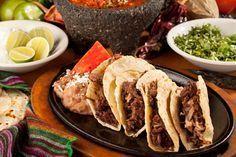 beef tacos - using leftover brisket -- crisp it up in skillet