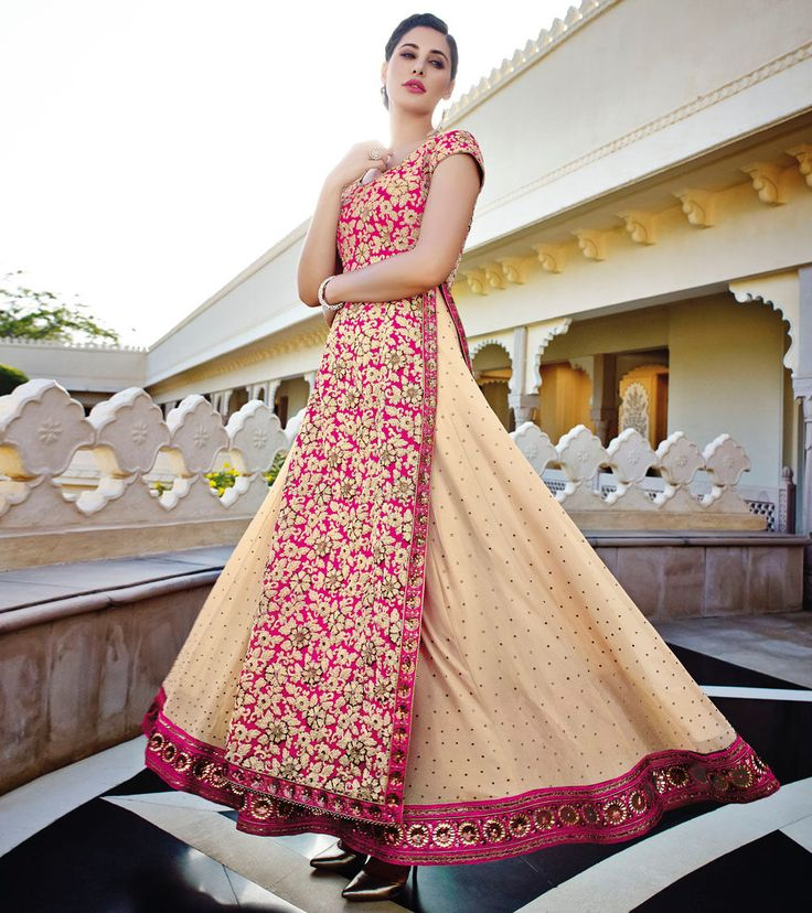 #Cream & #Red Embroidered Georgette #Unstitched #Anarkali #Suit at #Indianroots