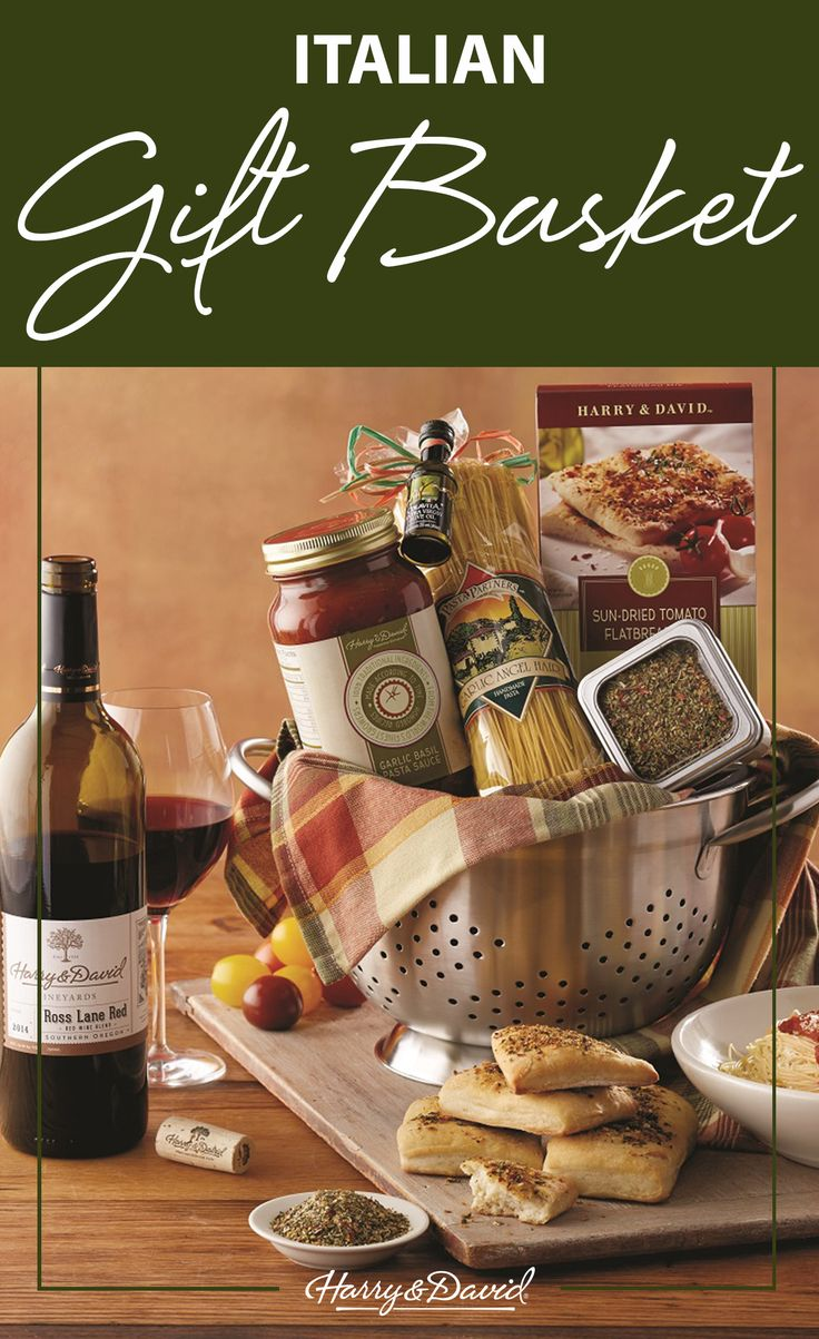 25 unique cheese gift baskets ideas on pinterest food gift this italian gift basket is stuffed with everything you need for an amazing gourmet meal the stainless steel colander comes with premium pasta basil negle Images