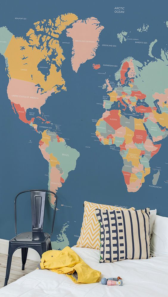 On the lookout for stylish kid's bedroom wallpaper ideas? This map wallpaper mural showcases a palette of muted colours, bringing colour in your home without overwhelming. It's a beautiful yet contemporary choice for children's bedrooms.