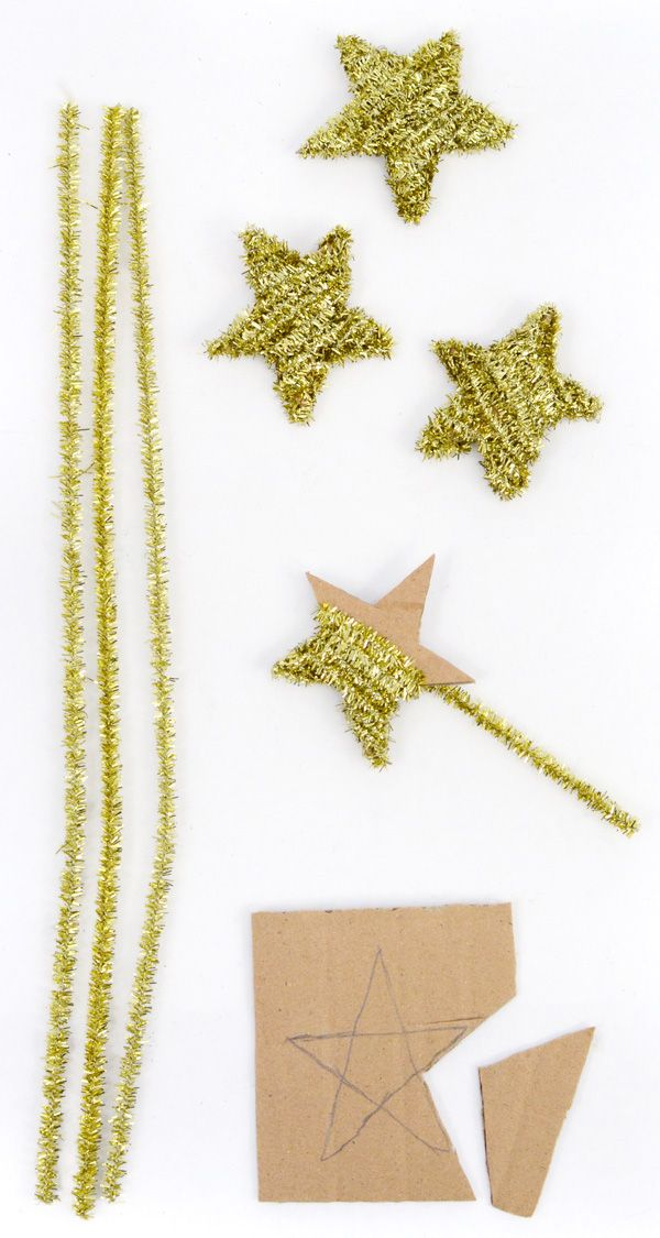 Tinsel stars with pipe cleaners & cardboard! We could make in all sizes. I have a weekly supply of cardboard come through the store I can start saving. we could spray paint really large ones too!