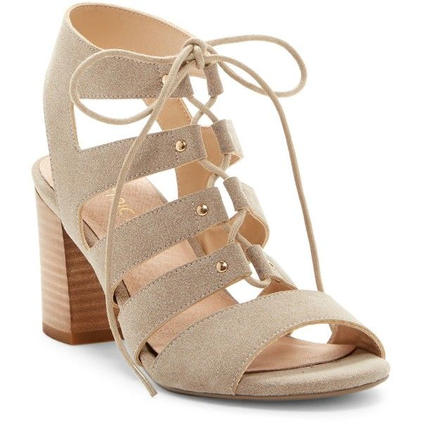 Restricted Kiko Lace-Up Cage Sandal ($37) ❤ liked on Polyvore featuring shoes, sandals, taupe, restricted shoes, open toe slingback, block heel sandals, lace up block heel sandals and open toe shoes