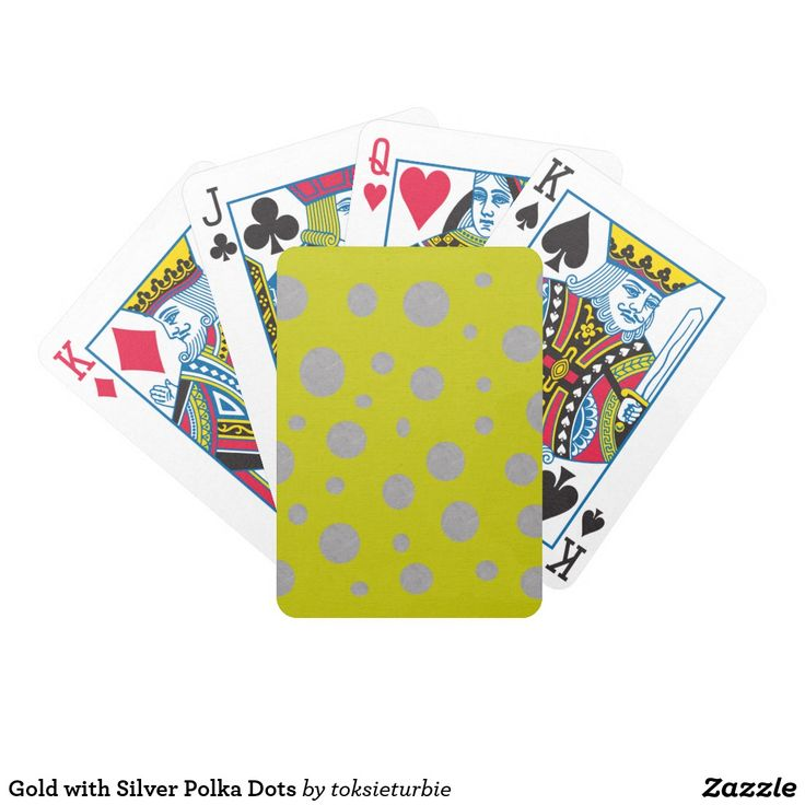 Gold with Silver Polka Dots Bicycle Playing Cards