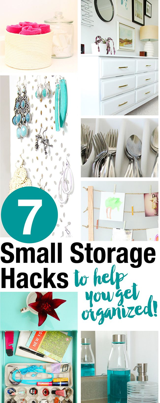 7 Small Storage and Organizing Hacks to help you get organized everywhere from your cutlery drawer to the family washroom!