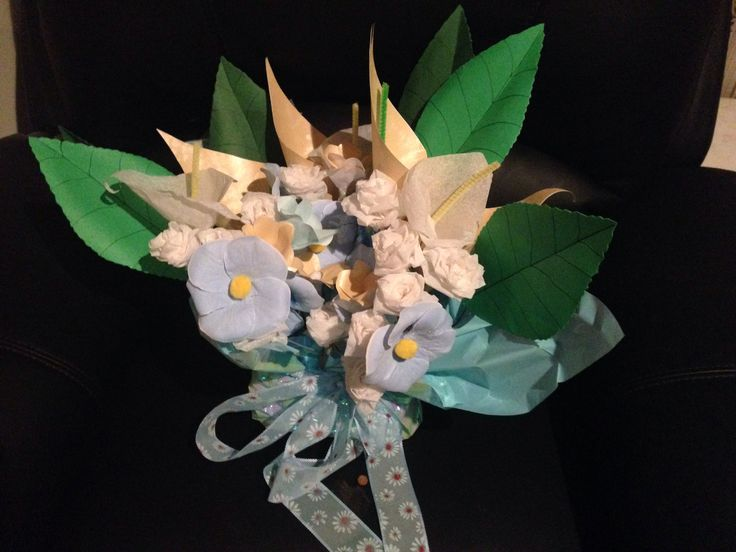 Paper flower bouquet made from crepe paper, tissue paper and card stock