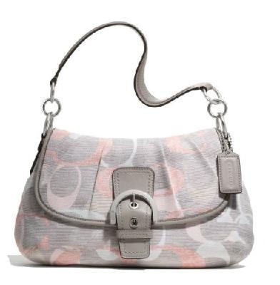 New With Tag Coach Soho Optic Linen Signature Flap Shoulder Bag #19238