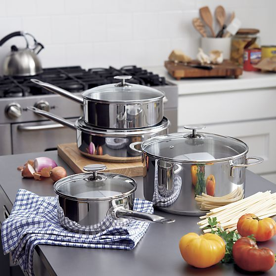 Crate and Barrel Stainless Steel Sauce Pans with lids I Crate and Barrel