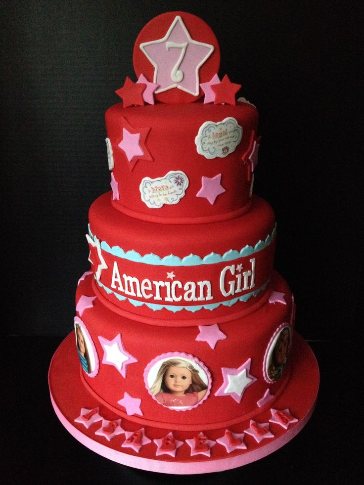- American Girl doll cake. All fondant with edible images.