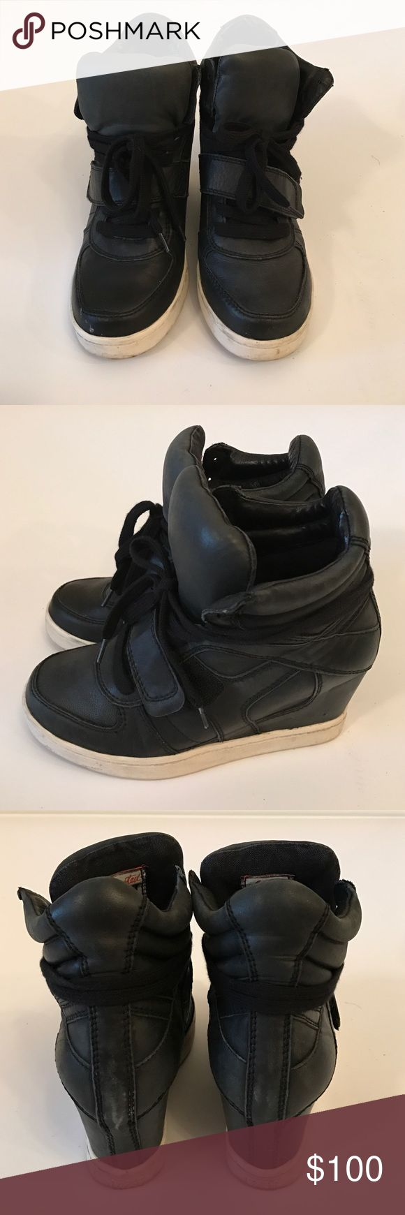 "Ash Bowie black leather heel sneakers in size 37 Worn gently. Ash black leather platform sneakers in size 37.  The heel measures 2"" purchased them from shopbop! Comes without the box. Ash Shoes Sneakers"