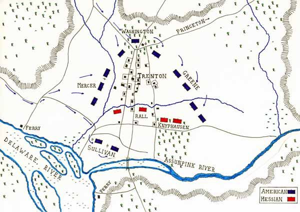 Map of the Battle of Trenton 25th December 1776 by John Fawkes