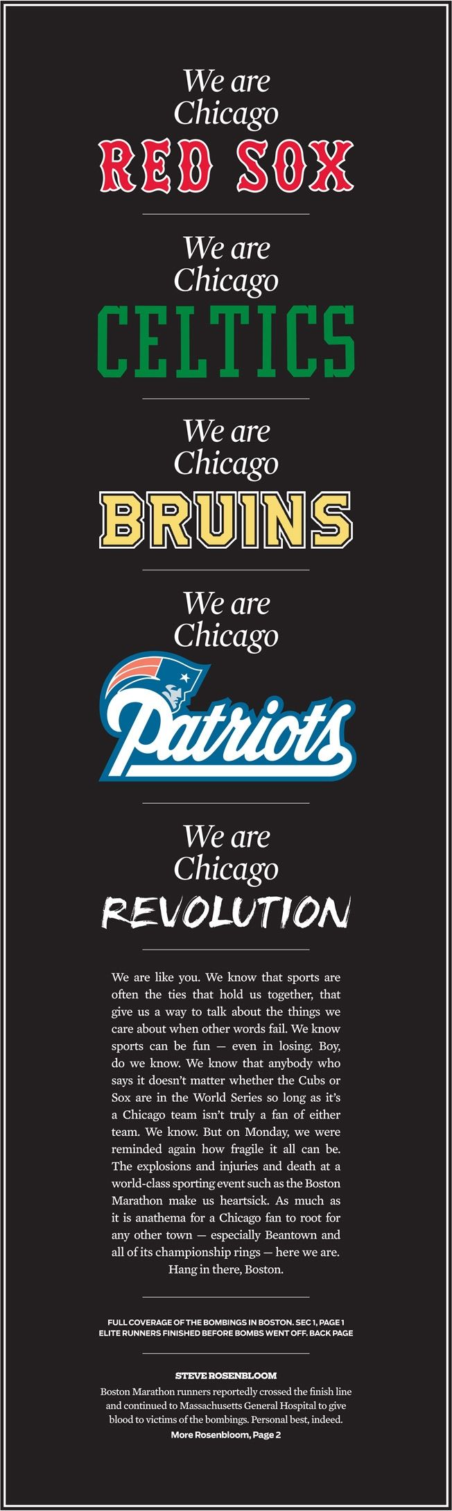 Chicago Tribune Honors Boston With Amazing Tribute From One Great Sports Town to Another | Adweek.com **This definitely moved me, and I can say for this SF/Bay Area fan, the sentiment is echoed here.** @Deborah True