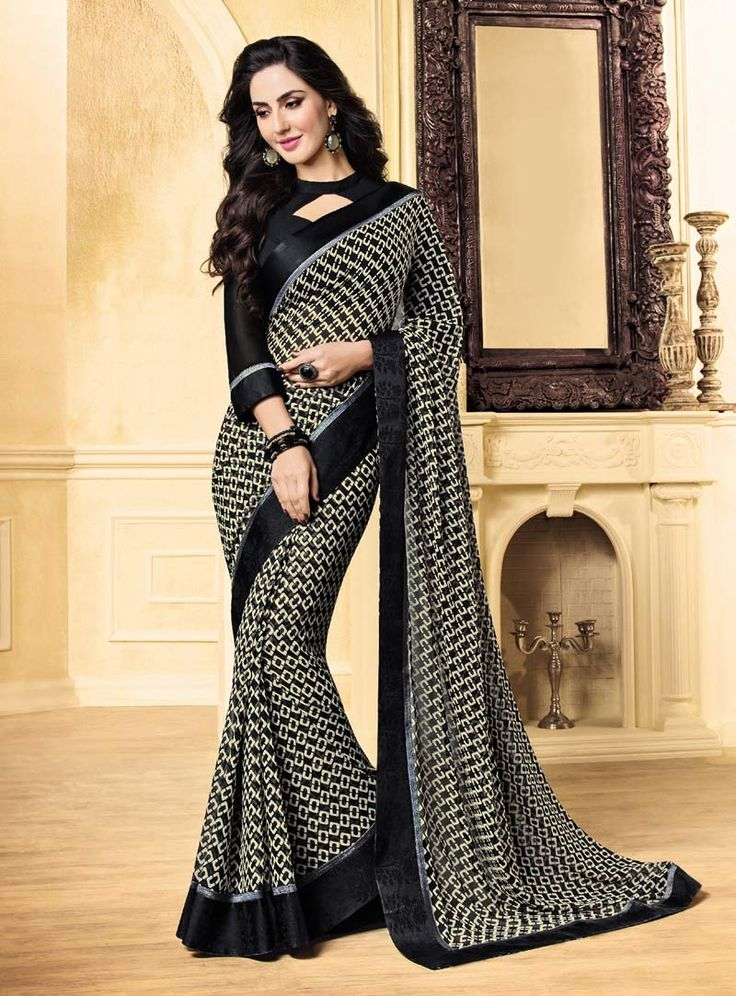Black Georgette Printed Saree With Blouse 85328