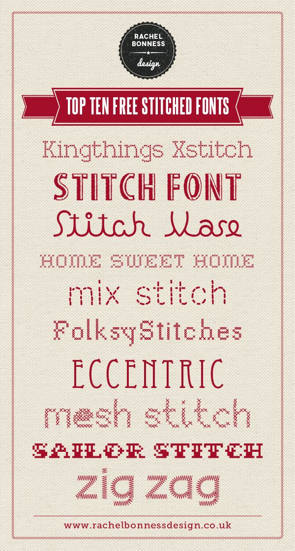 My top ten favourite free stitched cross stitch fonts. I designed this for my blog #designinspiration