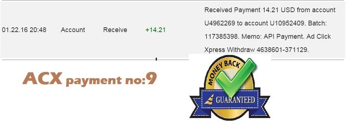 "Here comes Payment no 9 from ACX smile emoticon "" is possible with ACX, who is definitely paying - no scam here."" ""I WORK FROM HOME less than 10 minutes and I manage to cover my LOW SALARY INCOME. If you are a PASSIVE INCOME SEEKER, then AdClickXpress (Ad Click Xpress) is the best ONLINE OPPORTUNITY for you."" If u want to Join then click here and join :  http://www.adclickxpress.is/?r=cbfs9p9ege43w&p=mx... See More"