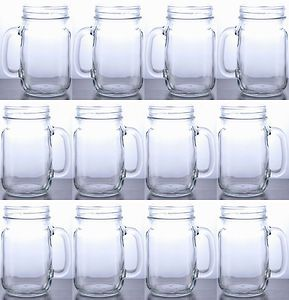 Rustic Bridal Wedding Mason Jars with Handles Wholesale Lot Set 5 Cases 60 Jars