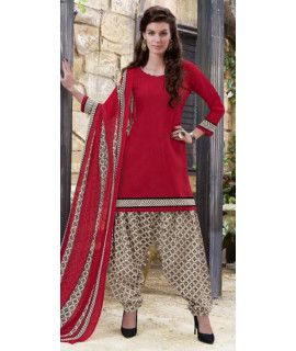 Lovable Red And Beige Cotton Patiala Suit.